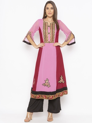 Light Pink Embroidered Georgette Party Wear Kurtis