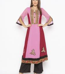 Light-pink embroidered georgette party-wear-kurtis