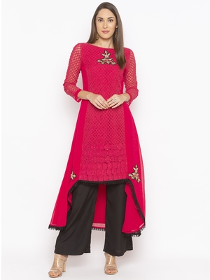 Pink Embroidered Georgette Party Wear Kurtis