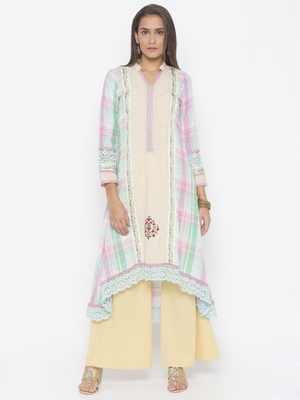 Cream Embroidered Cotton Party Wear Kurtis