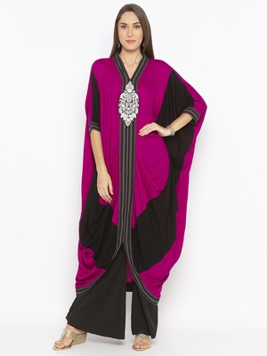 Pink Embroidered Cotton Party Wear Kurtis