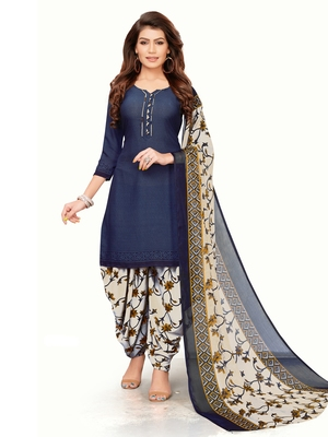Navy Blue Crepe Printed Unstitched salwar with dupatta