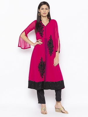 Magenta Embroidered Georgette Party Wear Kurtis