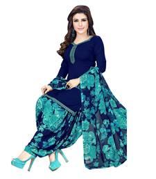 Navy Blue Crepe Printed Unstitched Salwar With Dupatta