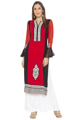 Red Embroidered Crepe Party Wear Kurtis