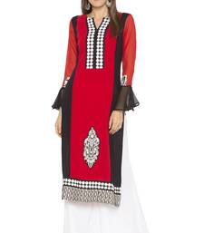 Red embroidered crepe party-wear-kurtis