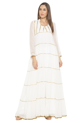 White Plain Georgette Party Wear Kurtis