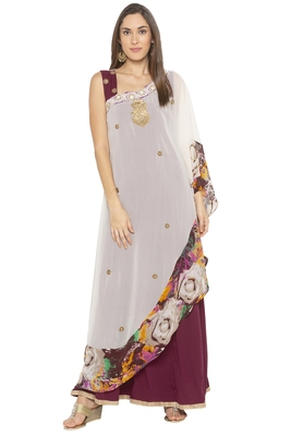 Cream Embroidered Georgette Party Wear Kurtis