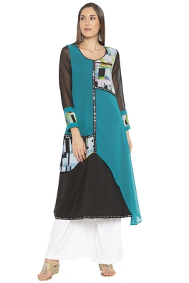 Green Printed Georgette Party Wear Kurtis