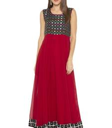 Maroon Printed Georgette Party Wear Kurtis