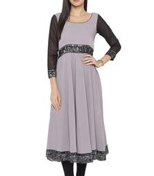 Grey Plain Crepe Party Wear Kurtis