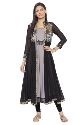 Grey Embroidered Crepe Party Wear Kurtis