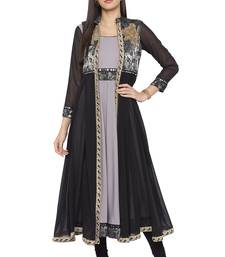 Grey embroidered crepe party-wear-kurtis