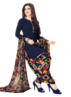 blue printed synthetic unstitched salwar with dupatta
