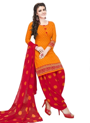 orange printed synthetic unstitched salwar with dupatta