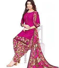 Pink Crepe Printed Unstitched salwar with dupatta