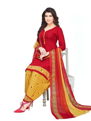 Red Crepe Printed Unstitched salwar with dupatta