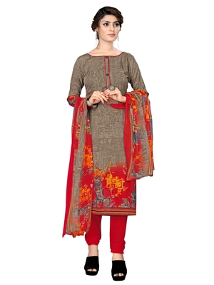 Brown Crepe Printed Unstitched salwar with dupatta