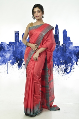 Rose woven silk blend saree with blouse