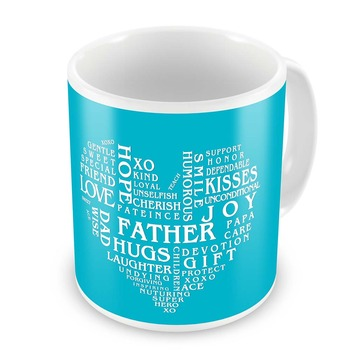 Heart Shape Words Collection Coffee Mug For Father