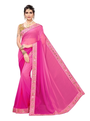 Pink Embroidered Georgette Sarees with Unstitched Blouse