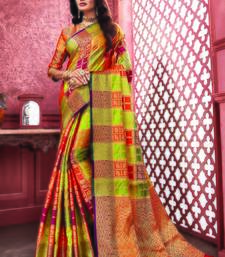 Multicolor Banarasi Pure Silk Checks Jacquard Work Traditional Saree