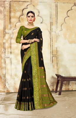 Black Cotton Jacquard Work Traditional Saree