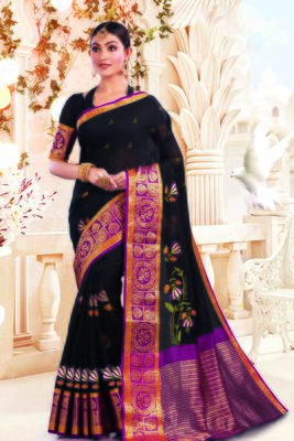 Black Cotton Embroidery Traditional Saree