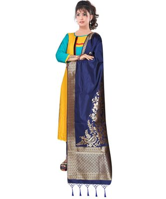 Women's  Navy Blue Banarasi Silk Jacquard Dupatta with Designer Laria