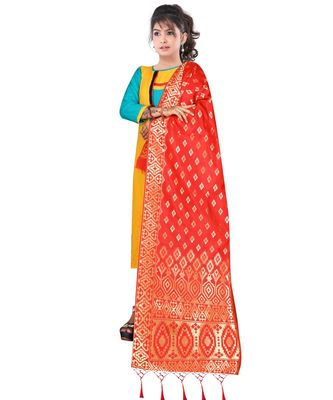 Women's  Red Banarasi Silk Jacquard Dupatta with Designer Laria