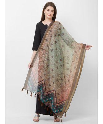 Grey Printed Chanderi Silk Dupatta for women