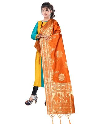 Women's  Orange Banarasi Silk Jacquard Dupatta with Designer Laria