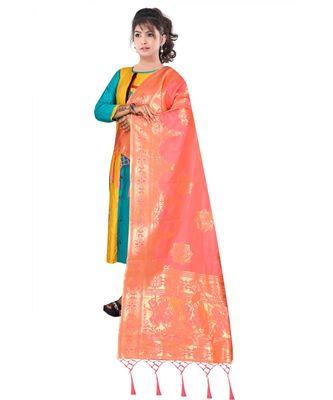 Women's  Gajari Banarasi Silk Jacquard Dupatta with Designer Laria