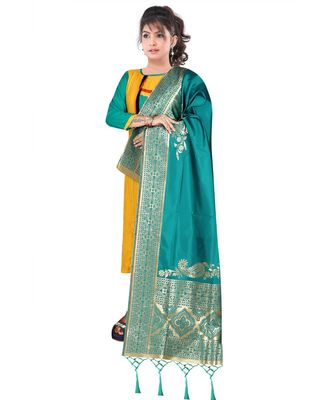 Women's  Rama Green Banarasi Silk Jacquard Dupatta with Designer Laria