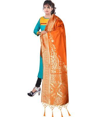 Women's  Orange Banarasi Silk Jacquard Dupatta with Designer Laria