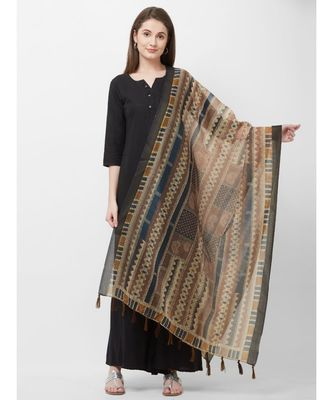 Blue Printed Chanderi Silk Dupatta for women