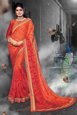 Orange & Red Chiffon Heavy Jacquard Work Traditional Saree