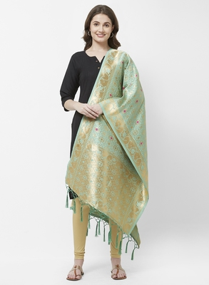 Green Banarasi Silk Dupatta for woman
