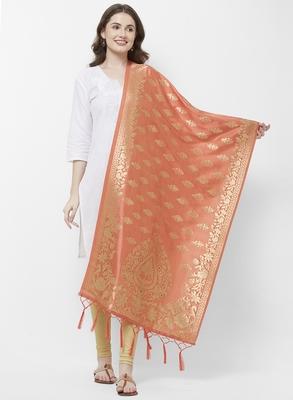 Peach Banarasi Silk Dupatta for woman