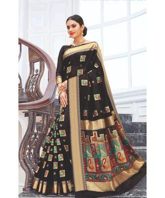 Black Pure Chanderi Cotton Meenakari Traditional Saree