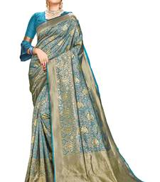 Light blue woven banarasi silk saree with blouse