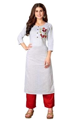 Kimisha White Cotton Embroidered Straight Kurta (Full Stitched)