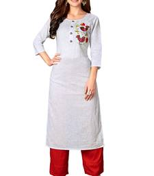 Kimisha White Cotton Embroidered Straight Kurta (Full Stitched)
