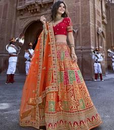 Multicolor embroidered silk semi stitched lehenga