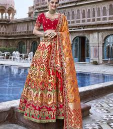 Red embroidered silk semi stitched lehenga