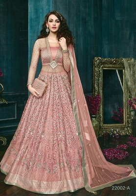 Blush pink  embroidered net anarkali