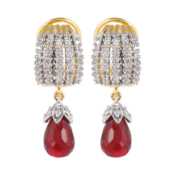 Designer Studded Red Drop Earring