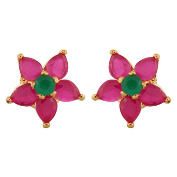 Contemporary Ruby Studded Earring