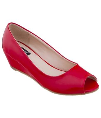 SHERRIF SHOES Women's Red Wedge Heel Pumps