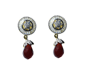 Beautiful Red Stone Baguette Setting earring